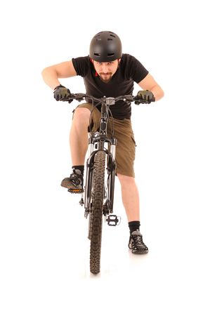 The bicyclist isolated on white, studio shot. Stock Photo - 6528824
