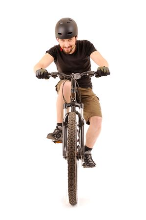 The bicyclist isolated on white, studio shot. Stock Photo - 6661282