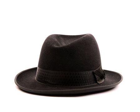 brim: Black hat on white background