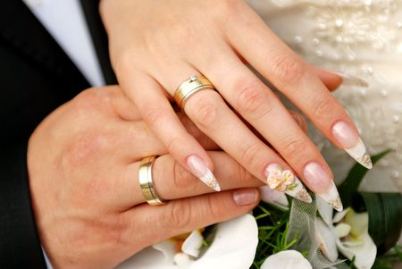 Just married couple hands photo