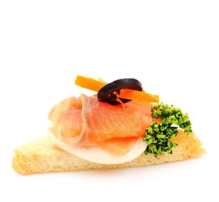 amuse: Smoked Salmon Blinis Canaps with Sour Cream Stock Photo