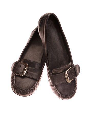 moccasins: elegant black moccasins isolated on white Stock Photo