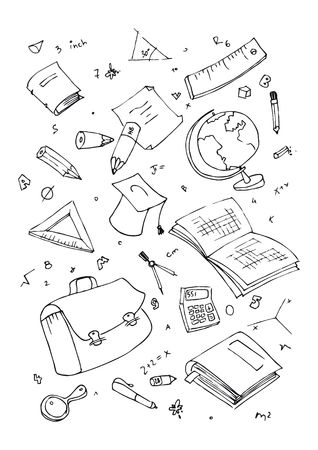 illustration of school subjects, hand drawn design set.
