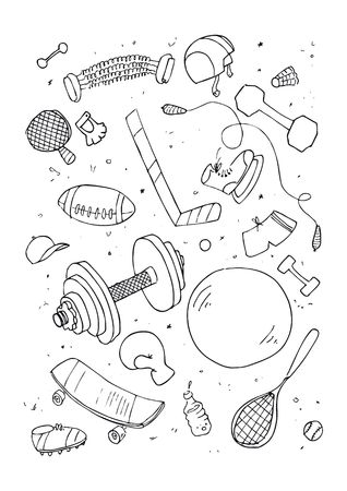 illustration of sports accessories, hand drawn design set. Stock Vector - 6746307