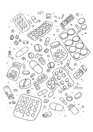 pills in hand: Ilustraci�n de varias p�ldoras, conjunto de dise�os de dibujado a mano.