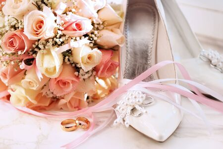 Wedding rings and bouquet Stock Photo - 6771922