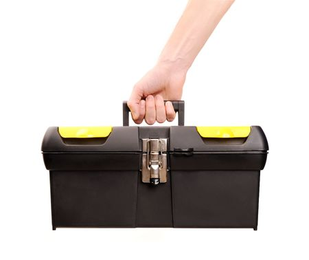tool bag: hand holding toolbox isolated on white, carpenter.