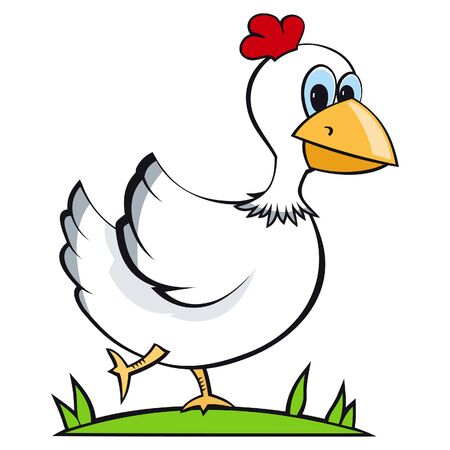 zoology: illustration of a chicken running