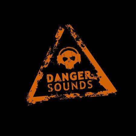 danger skull: Danger sound rubber stamp