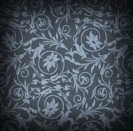 Blue textile background with floral ornament Stock Photo - 6911601