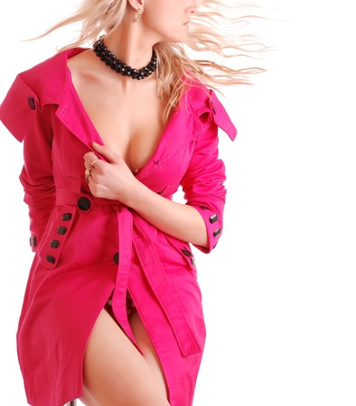 beautiful woman in pink coat on white background photo