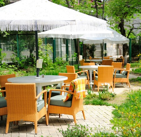Romantic summer outdoor cafe terrace photo