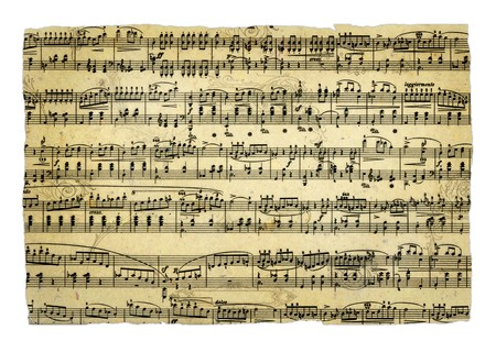 musical score: Old music sheet page - art background Stock Photo
