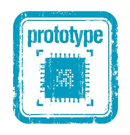 prototipo: sello de caucho del concepto de prototipo