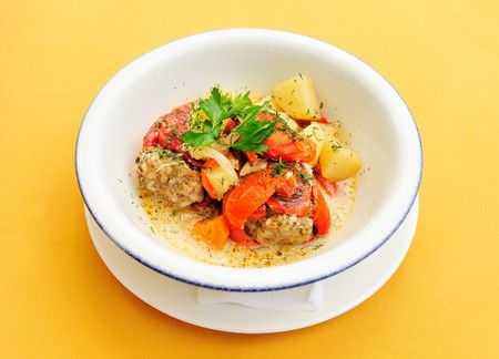 Meatballs with vegetables and sauce photo