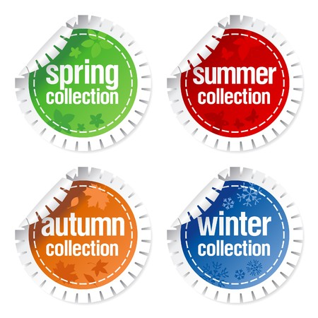 Set of stickers for seasonal collection Vector