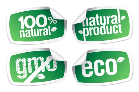 Set of ecology product stickers, GMO free. Stock Vector - 7125636