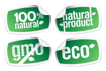 gmo: Set of ecology product stickers, GMO free. Illustration