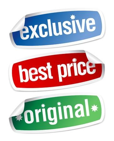 Conjunto de pegatinas para venta exclusiva bajo el mejor precio Ilustración de vector