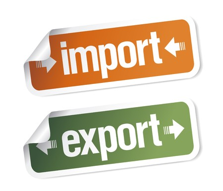 Import and export stickers set Stock Vector - 7125635