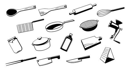 kitchen cooking: Set of silhouette kitchen utensil tool.