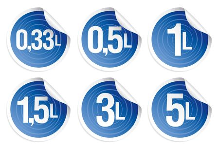 Set of stickers with the indication of capacity of bottles with water in litres. Stock Vector - 7125632