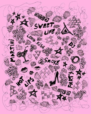 dork: Stylish youth background, hand drawn design