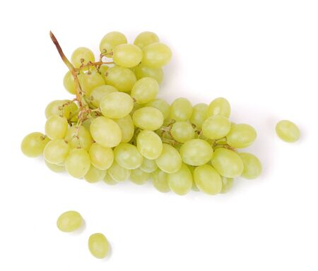 ripen: bunch of fresh green grapes isolated on white