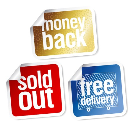 money back: Free delivery, money back, sold out stickers set Illustration