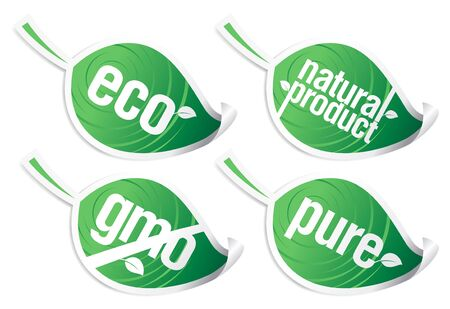 Set of ecology product stickers, GMO free. Stock Vector - 7318139