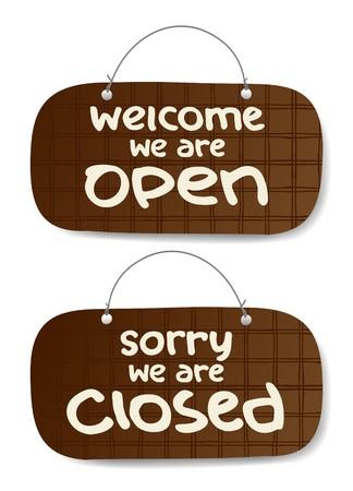 tachuelas: Vector abierto y cerrado signos, estilo de burberry