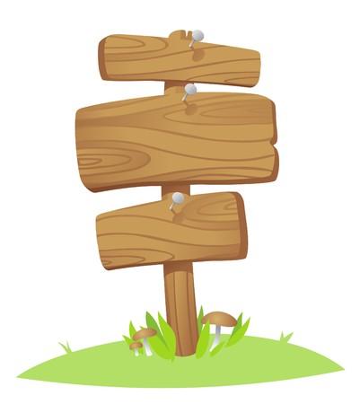 wooden post: tablas de madera sobre un c�sped