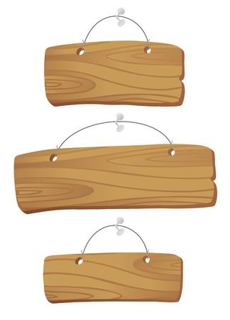letreros: tablas de madera colgando de una cuerda con un clavo