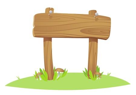 tavola di legno su un erba Vettoriali