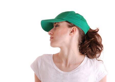 hape: profilo ritratto di una giovane donna carino in un tappo di sport  Archivio Fotografico