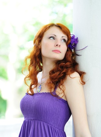 beautiful woman with a flower in her hairs Stock Photo - 7447563