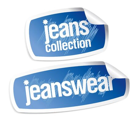 Jeanswear collection stickers set Vector