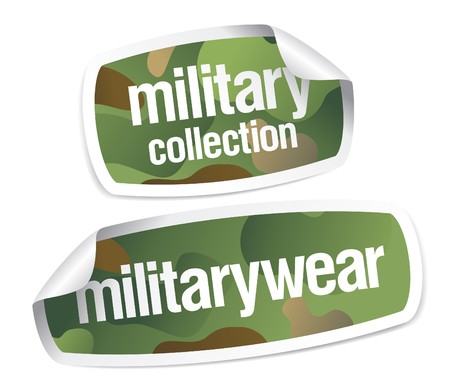 Military wear collection stickers set Vector