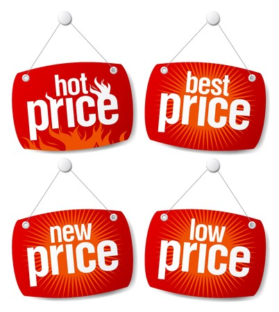 New best price signs set Vector