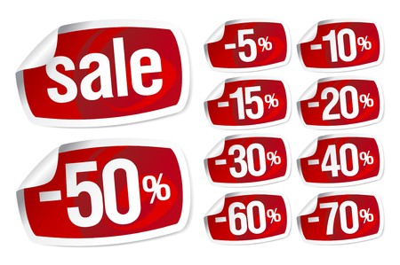 Set of red stickers for discount sale Vector