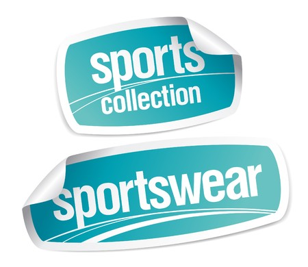 Sportswear collection stickers set Illustration