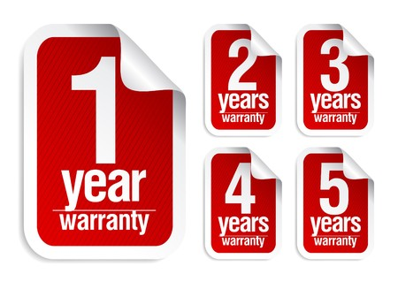 red  warranty stickers set Illustration