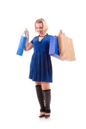happy beautiful young woman with shopping bags photo