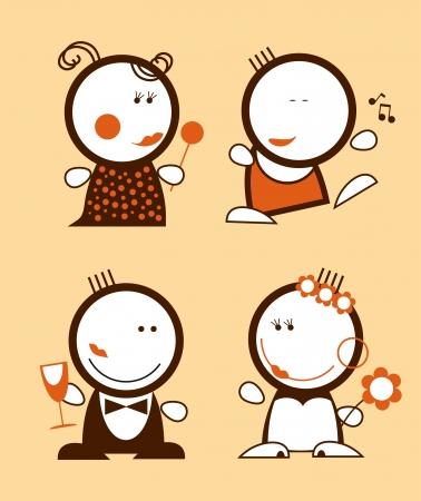Conjunto de iconos de gente divertida  Foto de archivo - 7804737
