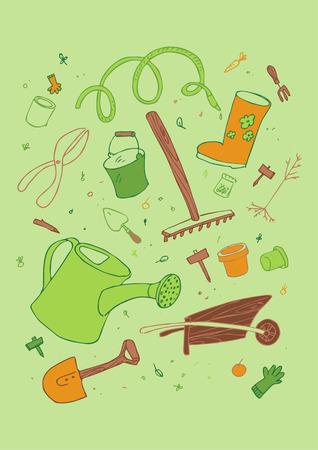 illustraition of cartoon garden tool, hand drawn design set. Stock Vector - 7804749