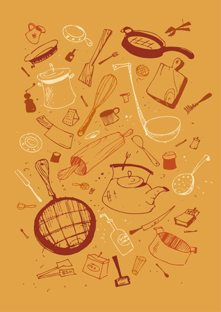 Vector illustraition of kitchen utensil Çizim