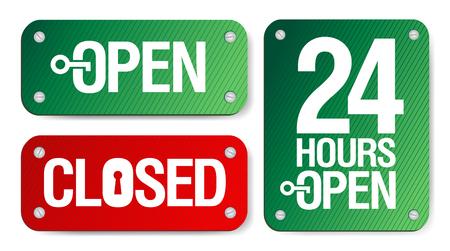 cerrar la puerta: Signos abierto y cerrado de vector