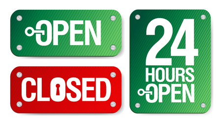close to: Vector Open and Closed Signs