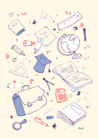 Vector illustraition of school subjects, hand drawn design set. Vector
