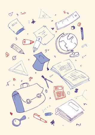Vector illustraition of school subjects, hand drawn design set. Stock Vector - 7804751